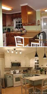 before and after 80s kitchen transformation love the two tone cabinets in blue and