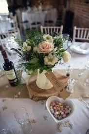 Jug Flowers White Blush Hessian Log Centrepiece Tables Rustic Woodland  Spring DIY Wedding http:/