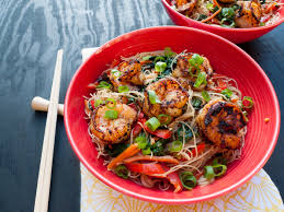 brown rice noodle and veggie stir fry