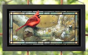 com darby creek trading cardinal bird sitting in birch tree stained glass art hanging panel home kitchen