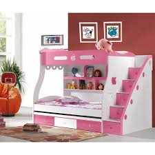 Chic White Pink Girls Bunk Bed Design For Cheerful Girls Bedroom ...