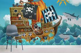 cartoon pirate ship childrens room wall murals