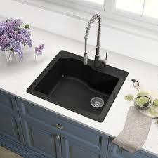 Black Double Offset Bowl Trugranite Sink With Regard To White