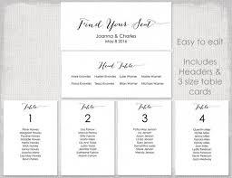 wedding seating chart template black shell diy printable table