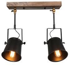 2 light industrial wood close to ceiling track lighting spotlights