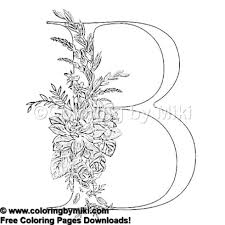 Enchanted Floral Alphabets B Coloring Page 1295