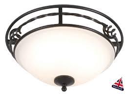 pembroke traditional black wrought iron 2 light flush fitting