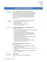 Enchanting Hr Generalist Resume Sample Download About Human