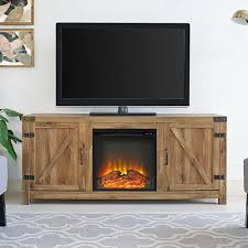 details about 58 inch rustic electric fireplace tv console barnwood entertainment center home