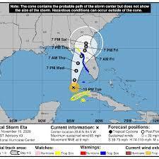Tropical Storm Eta shifts east again ...