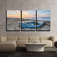 wall26 3 piece canvas wall art turquoise blue fishing boat at sunrise on bournemouth on boat wall art with amazon wall26 3 piece canvas wall art turquoise blue