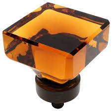 square glass knobs. cosmas 6377orb oil rubbed bronze and glass square cabinet knob, amber transitional-cabinet knobs