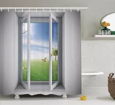 high quality arts shower curtains open window with a green field outdoors erfly bathroom decorative modern