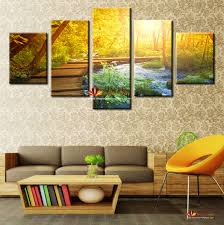 free shipping 5 pieces modern wall art canvas printed painting decorative sunset forest landscape picture for home decor art canvas unframed on decorative modern wall art with free shipping 5 pieces modern wall art canvas printed painting