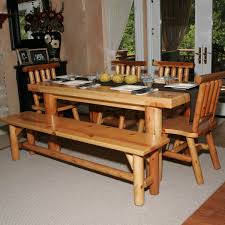 person dining room table foter: natural lacquer glossy log wood dining table with chairs and bench on light gray carpet
