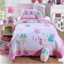 Free shipping girls butterfly fairy twin size quilting 100%cotton ... & Free shipping girls butterfly fairy twin size quilting 100%cotton princess  applique embroidery patchwork quilt Adamdwight.com