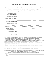 Recurring Credit Card Authorization Form Template 8 Sample Credit