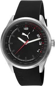men s black puma silicone strap watch pu103481001