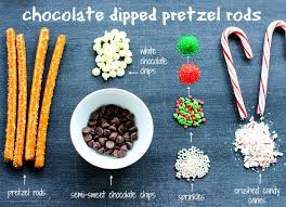 chocolate dipped pretzel rods for the holidays