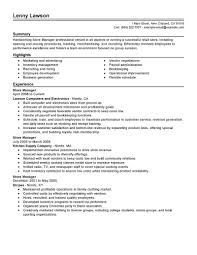 Store Manager Job Description Resume Free Resume Example And