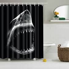 3d printing waterproof fabric shark shower curtain with hooks