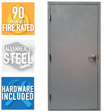 Armor Door 36 in. x 80 in. Fire-Rated Gray Right-Hand Flush ...