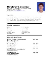 Resume Sample Philippines Undergraduate Resume Ixiplay Free