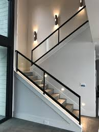 Frameless Glass Railing Detail Staircase Gl Wooden Panel Indoor