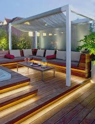 outdoor stair lighting lounge. Love This Rooftop Design With Sofa And Hot Tub Recessed Lighting More. Pergola LightingOutdoor Deck LightingJacuzzi OutdoorLounge Outdoor Stair Lounge 6