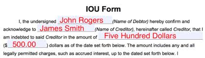 Free Iou Format Free I Owe You Iou Template Pdf Eforms Free Fillable