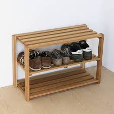 3 Tier Unfinished Wood Shoe Rack Suitable Placed On Entryway Your Home