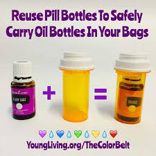 easy carrying of oil bottles with the help of pill bottles