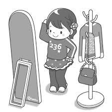 鏡を見る女の子モノクロ 子供と動物のイラスト屋さん わたなべふみ