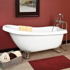 Astounding Bathroom Decoration Design With Painted Clawfoot Tub : Awesome  Idea Of Red Bathroom Decoration Using