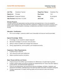 Substitute Teacher Duties Resume Substitute Teacher Resume Job