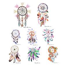 Dream Catcher Tattoo Pics DIY Colorful Feather Wind chimes 100 Sheet Temporary Tattoo Dream 89