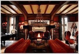 tudor interiors upholstery garnet ruby reds dark rusty