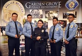 garden grove pd officer mice estrada center a home grown officer serving as an explorer for the department stands with other garden grove pd