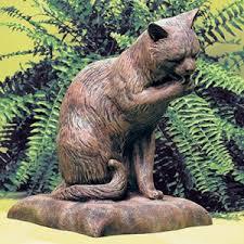 cat garden statue. Cat Bath Statue Garden