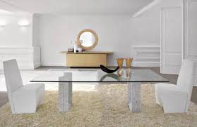 dining room table mirror top: captivating glass table or round wall mirror decor feat awesome white leather dining chairs and fluffy