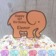 1st Birthday Cake Topper Elephant Personalised 2nd 3rd Name Age Boy