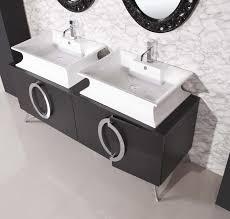 black vanities for bathrooms. Bathroom. Black Wooden Vanity With Storage And White Double Sink Placed On The Gray Floor Vanities For Bathrooms