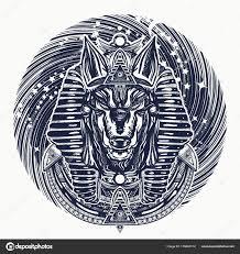 Anubis Universe Tetování Tričko Design Starověký Egypt Anubis Bůh