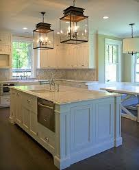 kitchen lighting. Traditional Kitchen With A Pair Of Glass Pendant Lanterns Lighting