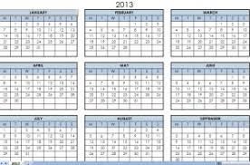 Calendar 2013 Template 2013 Printable One Page Calendar Yearly Excel Template