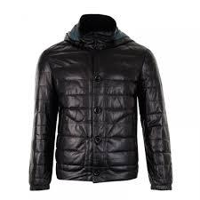 smarty mens cosmo detachable hood leather coat black