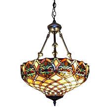 Tiffany Style Kitchen Lights Warehouse Of Tiffany 2 Light Brass Inverted Hanging Pendant