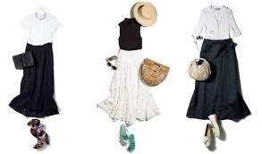 夏のロングスカートコーデ11選白や黒のおしゃれロングスカート着こなし