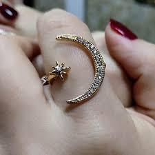 Hot Sell New <b>Fashion Crescent</b> Moon And Tiny Star Open Rings For ...