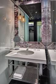 Irresistible Stainless Steel Shelves Below Ideas1 Plus Luxury Powder Room  Design Plus Large Frameless Window Over